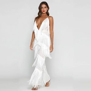 🎉Host Pick🎉 NEW! White Fringe Jumpsuit